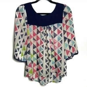 Umgee Geometric Sheer Flowy Blouse Top Small